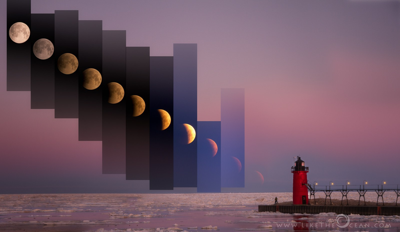 Time Slice of Lunar Eclipse 04.04.2015 South Haven, Michigan, USA